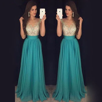 Teal Turquoise Luxury Crystal Graduation Prom Dresses 2017 Vestidos Gala Champagne Chiffon Long Formal Evening Party Gowns
