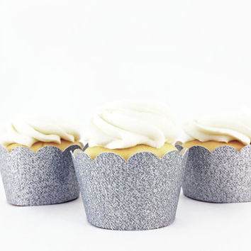 Silver Glitter Cupcake Wrappers - Set of 12 - Party Supplies // Wedding Decorations // Bridal Shower