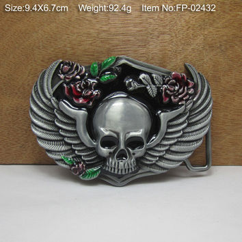 SKULL ROSE WING Cowgirls CowboysMetal Belt Buckle Texas Fashion Mens Western Badge Feathers Native Avengers