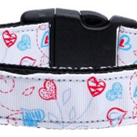 Patriotic Crazy Hearts Nylon Ribbon Dog Collars Medium