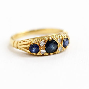 Vintage 18k Yellow Gold Diamond & Sapphire Ring - Size 5 Blue Gemstone English Birmingham 1987 Filigree Fine Jewelry