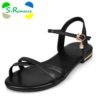 S.Romance Genuine Leather Women Flats Sandals Plus Size 34-43 New Fashion Casual Solid Buckle Strap Woman Shoes Beige SS602