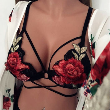 Stylish Sexy Embroidery Lace Summer Floral Underwear [10594460163]