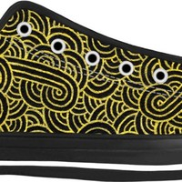 Faux gold and black swirls doodles Black Low Tops