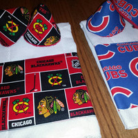 CUBS or BLACKHAWKS Fabric Trim PeRsoNaLiZeD Burp Cloth and Pee Pee Teepee Sprinkler Cover Gift Sets FuN Shower Gifts! Designs by Sugarbear