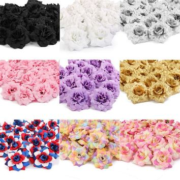 50pcs Silk Rose Flower Heads Artificial Flowers Wedding Decoration Simulation Flower Christmas Wedding Home Decor Accessories