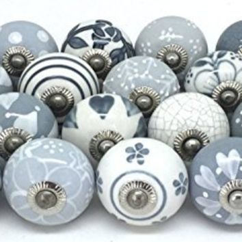 Zoya 10 Knobs Grey & White Hand Painted Ceramic Knobs Cabinet Drawer Pull by Zoya's