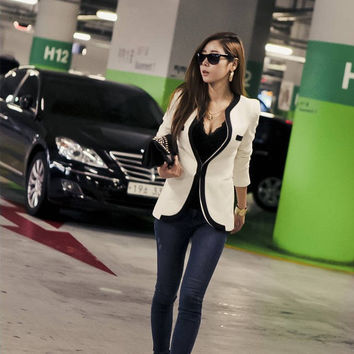 Patchwork Stylish Korean Slim Blazer [9377722692]