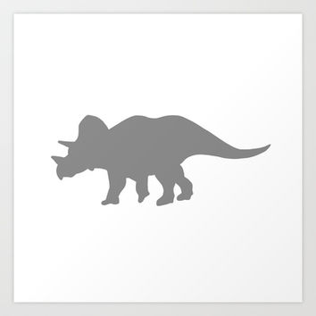 Grey Triceratops Art Print by PoseManikin