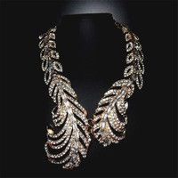 Gold Feather Statement Necklace