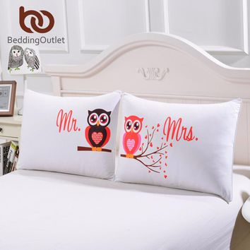 BeddingOutlet Body Pillowcase Mr and Mrs Owls Romantic Pillow Case Soft Pillow Cover Valentine's Day Gift Home Textiles One Pair