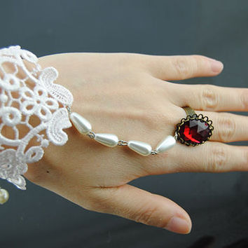 Bride Lace Bracelet Handmade Lace Bracelet,Knitted Crochet Flower Bracelet Wedding Gothic Detailed Vintage Slave Chain White Gothic Ring