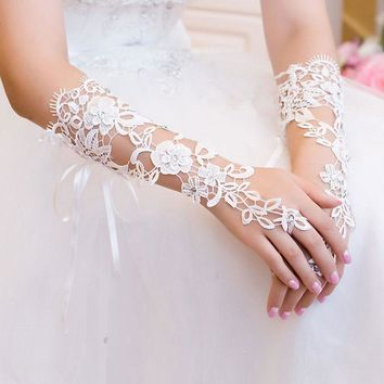 White Women Girls Lady Sexy Charm Lace Flower Rhinestones Fingerless Gloves Party Beautiful accessory