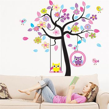 ZN New Owl Bird Swing tree Wall Stickers Tree wall decals cartoon  Home Decor  for kids rooms Children Baby Nursery Rooms