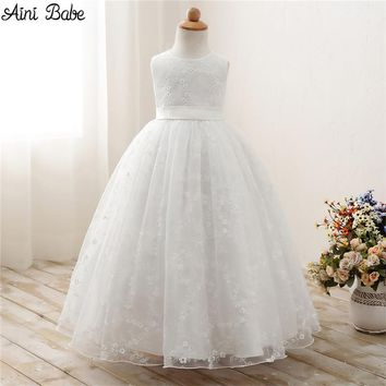 Aini Babe Fancy Children Kids Prom Gown Designs Little Baby Girl Party Frocks Flower Girl White Tulle Wedding Dress Girl Clothes