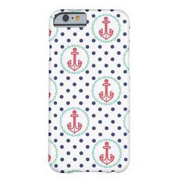 Trendy Modern Nautical Anchor Polka Dot Pattern Barely There iPhone 6 Case