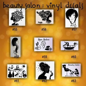 BEAUTY SALON vinyl decals - 55-63 - personalizable vinyl stickers - custom car window stickers - car decal - car sticker