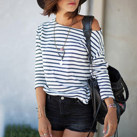 Women's 3/4 Sleeve Black/White Striped Casual Blouse Shirt Top
