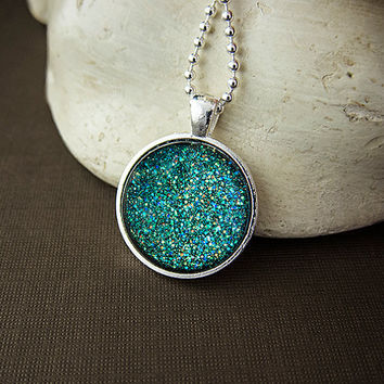 Peacock Glitter Sparkling Glass Pendant Blue Green Sparkly Glitter Polish Necklace
