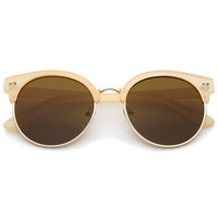 Women's Indie Cat Eye Half Frame Round Sunglasses A407