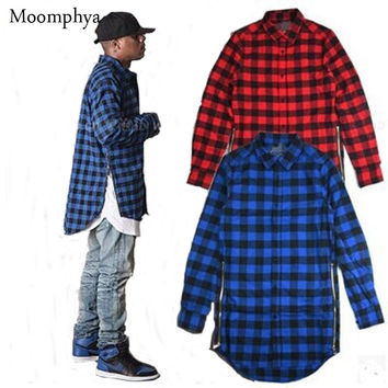 fashion street wear Men shirt long style plaid shirt men extended curve hem shirt side zip men hip hip shirt