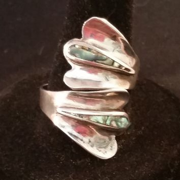 Abalone sterling silver inlay wrap ring Mexican stamped RDA Taxco size 9