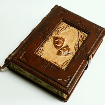 Thalia masks, vintage look handmade leather journal,  5.5x7.5inch (14x19cm) , in gift box.