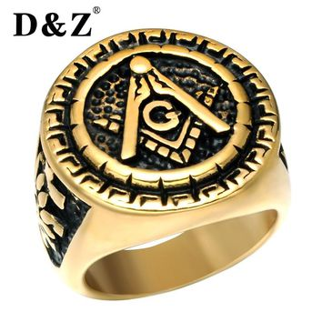 D&Z Vintage Freemasonry Masonic Rings of Men Gold Silver Stainless Steel Master Punk Free Masonic Signet Ring Male Band Jewelry