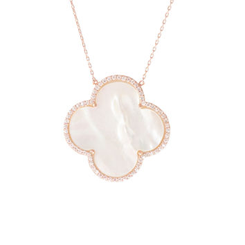 Mother of Pearl Clover Rose Gold Necklace