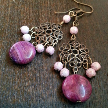 Pink Crazy Lace Agate and Rhodonite Boho Chandelier Earrings on Brass Filigree Component - Pink Brass Filigree Earrings - Stone Drop Dangle