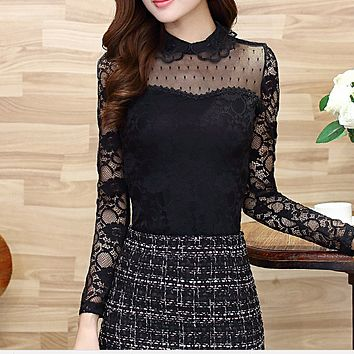Fashion Cute Stretch Long Sleeve Lace Tops