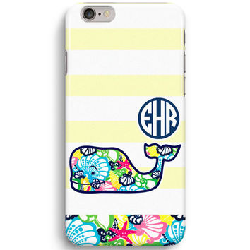 Yellow Stripe Personalized Monogram Inspired Lilly Pulitzer And Vineyard Vines iPhone 6 Case, iPhone 5S Case