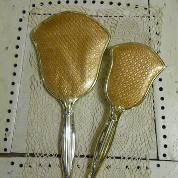 FREE SHIPPING - Hair Brush & Mirror/Vintage Hair Brush/Vintage Mirror/Gold Mirror/Gold Hair Brush/Hand Held Mirror