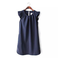 Summer Women's Fashion Round-neck Ruffle Metal One Piece Dress [5013349636]