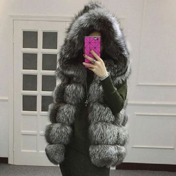2017 Winter Fur Vest Women faux Fox Fur Coat Hooded Fur Sleeveless Jacket Natural Fur Vest Waistcoat Plus Size 4XL,a592
