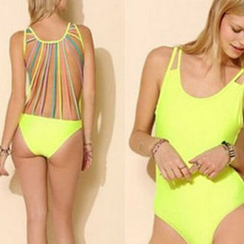 2015 the newest Sexy backless swimsuit Fresh piece suit Cool and comfortable bikini setthe newest Sexy backless swimsuit