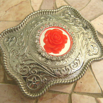 Silver Belt Buckle, Rhinestone Western Womens Southwestern Country Red Rose Buckle, Flower Belt, Girls Belt Buckle, Cowgirl Rockabilly Rose