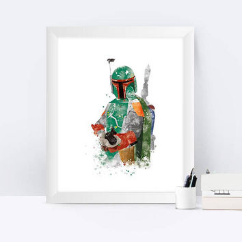 Star Wars Boba Fett Print Boba Fett wall art watercolor painting Poster Star Wars Watercolor Print Giclee Wall Art Print Instant Download