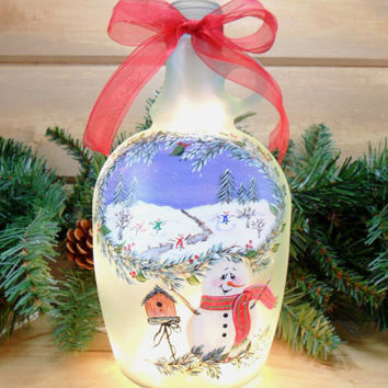 Snowman Lighted Wine Bottle Recycled Hand Painted