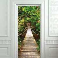GIANT Door STICKER rope bridge tropic forest poster, mural, decole, film 48x96""
