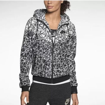 """NIKE"" Women Zip Hooded Sweatshirt Jacket Sport Cardigan Coat Windbreaker Sportswear White grey"