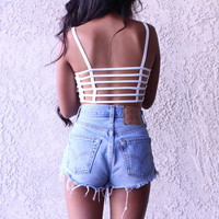 White or Black Caged Bralette from Avess Apparel