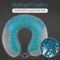 2017 Travel Accessories Mesh Gel U-shaped Pillow Bamboo Charcoal Memory Cotton Removable Travel Pillow Neck almohada Travel Use