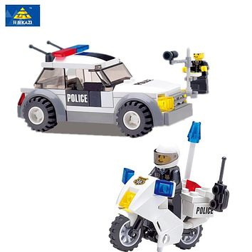 KAZI 99PCS City police patrol car and Motorcycle Building Blocks Bricks Educational Toys Kids Boys Birthday Christmas Gift Toy