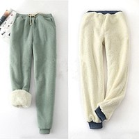 Thick Fur Lined Winter Jogger Pants