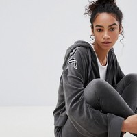 Juicy Couture Black Label Velour Zip Through Hoody with Gothic Print at asos.com