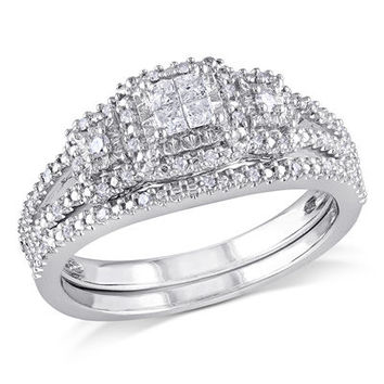 1/4 CT. T.W. Princess-Cut Quad Diamond Frame Bridal Set in Sterling Silver - Save on Select Styles - Zales