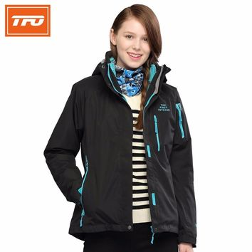 TFO Women Hiking Jackets 3 in 1 thermal winter warming Waterproof  rain Jacket two pieces fleece ski coat climbing camping