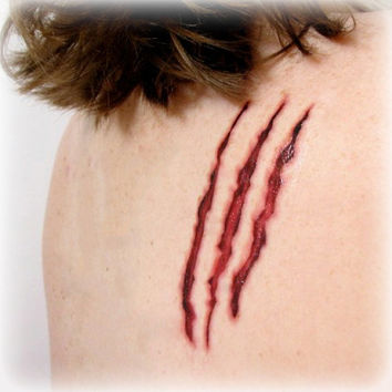 Adult Halloween Costume Accessories - Clawed Temporary Tattoo Horror Scratch Claw Mark