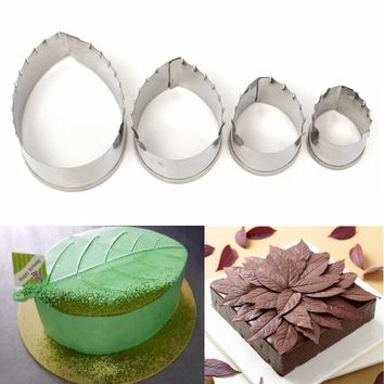 4pcs Rose Leaf Stainless Steel Cake Biscuit Moulds Cookie Cutter Fondant Icing Mold DIY Baking Tools